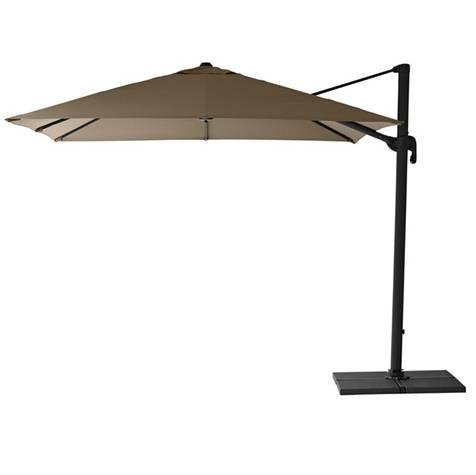 Hyde sidehængt parasol 3 x 3 m. inkl. fod Taupe - Cane-Line