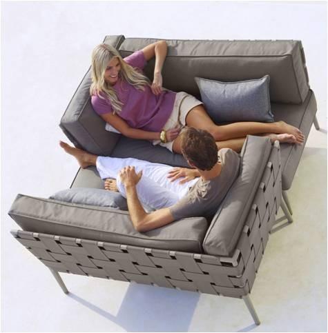 Conic 2 pers. sofa højre inkl. hyndesæt - Cane-Line