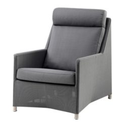 Diamond lounge highbackstol grå inkl. hynde - Cane-Line