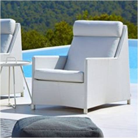 Diamond lounge highbackstol hvid inkl. hynde - Cane-Line
