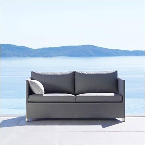 Diamond sunbrella sofa 2 pers. grå inkl. hynde - Cane-Line