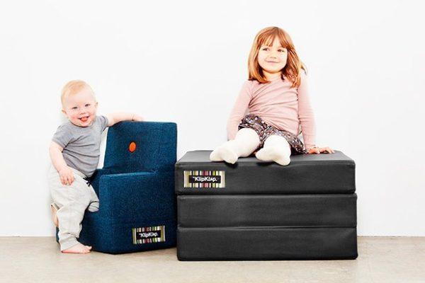 KlipKlap børnestol blå grå