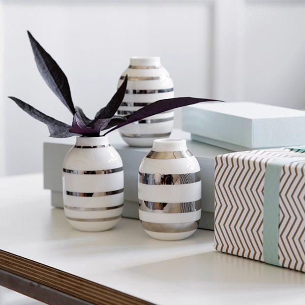Omaggio vaser sølv miniature 3-pak