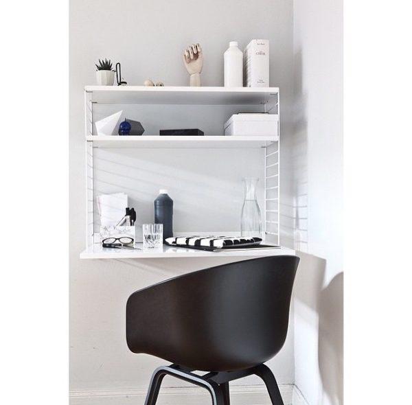 String Furniture reol og skrivepult - hvid
